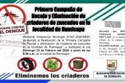 PRIMERA CAMPAÑA DE RECOJO Y ELIMINACIÓN DE CRIADEROS DE ZANCUDOS EN LA LOCALIDAD DE RUMISAPA.